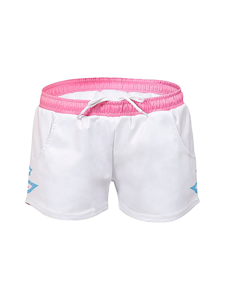 White Heartbeat Sports Shorts