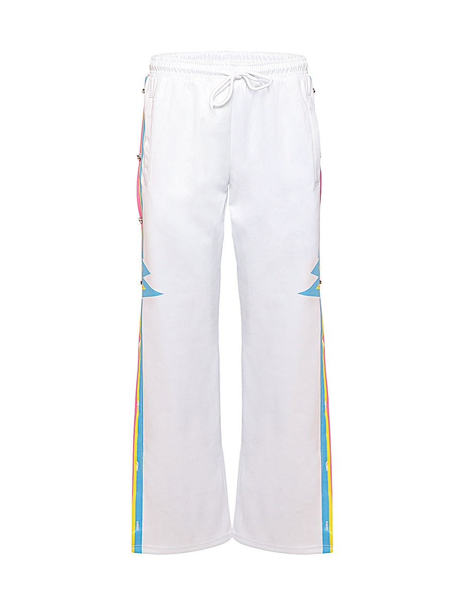 White Tracksuit Bottoms with Heartbeat Print