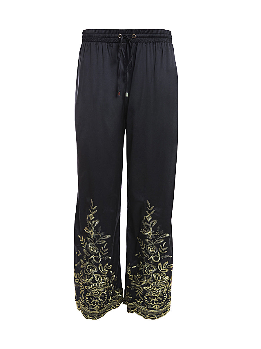 Black Drawstring Embroidered Trousers front