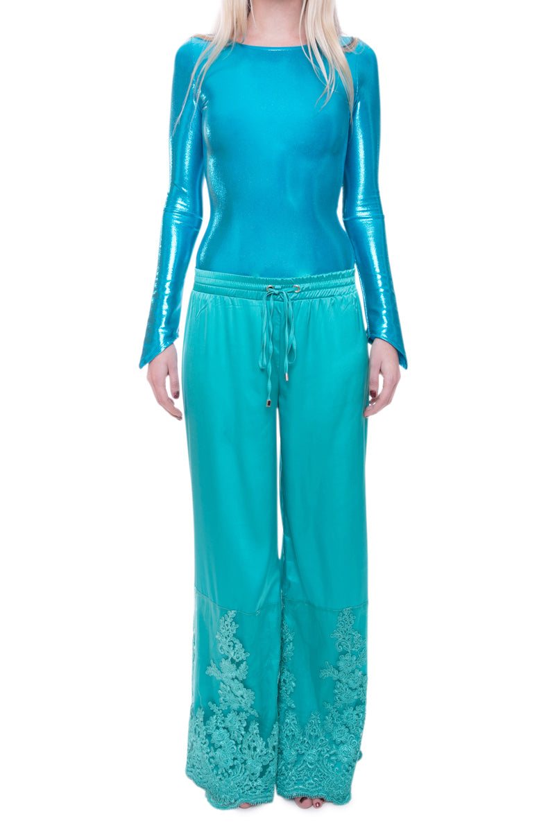 Green Drawstring Embroidered Flare Trousers