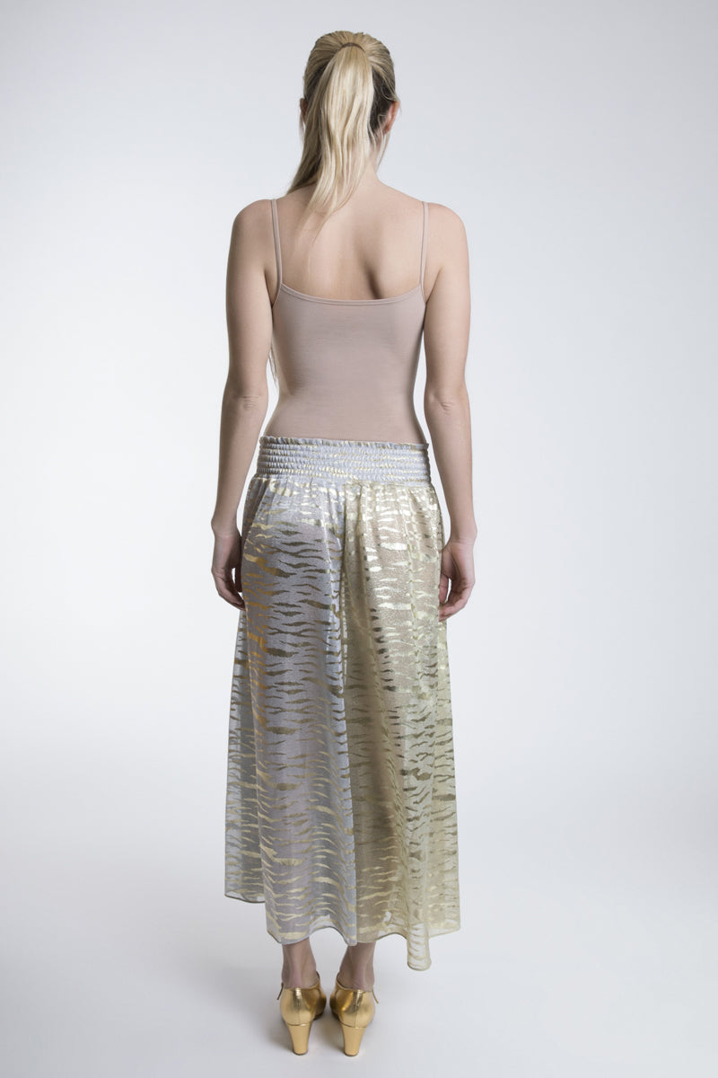 Metallic Cropped Wide Leg Trousers
