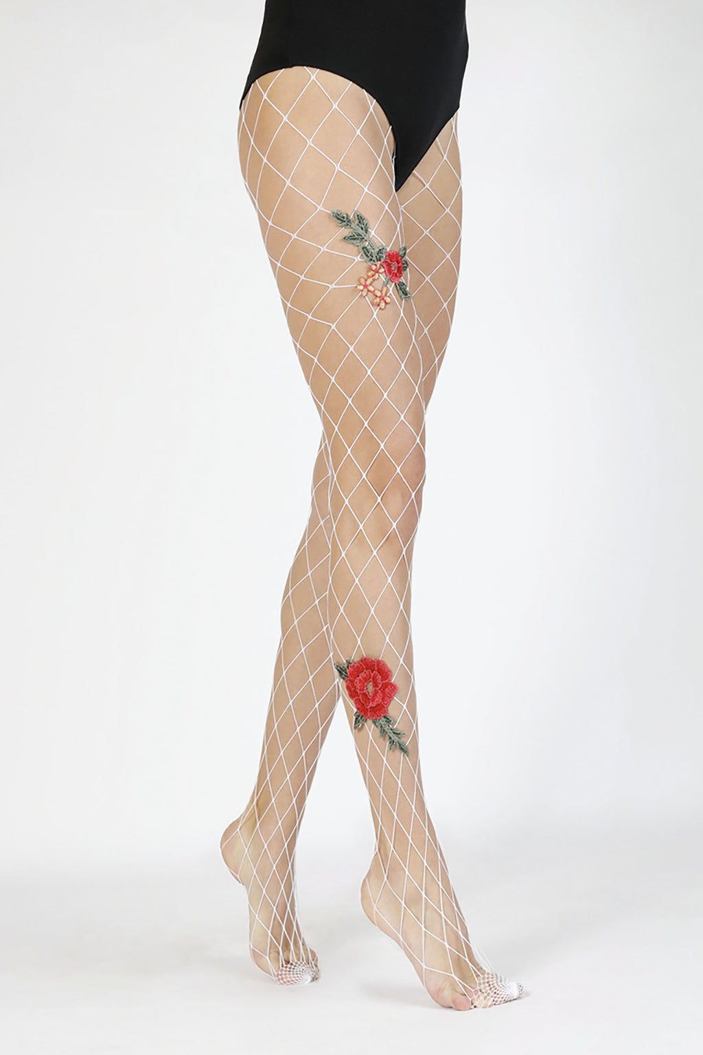 Rose Applique White Fishnet Tights