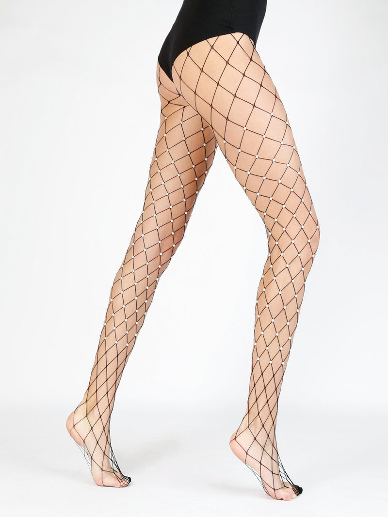 Pearl Embellished Oversized Fishnet Tights