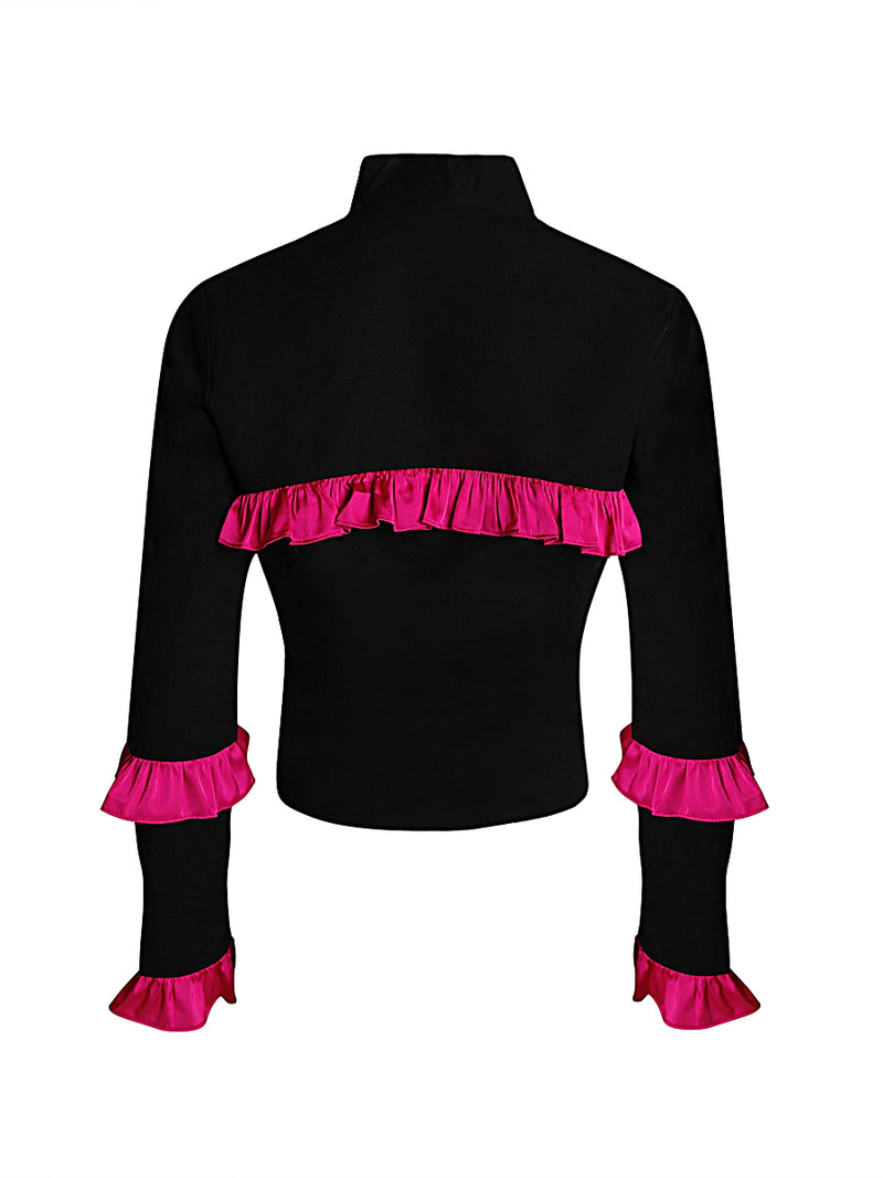 Black and Pink Ruffle Jacket