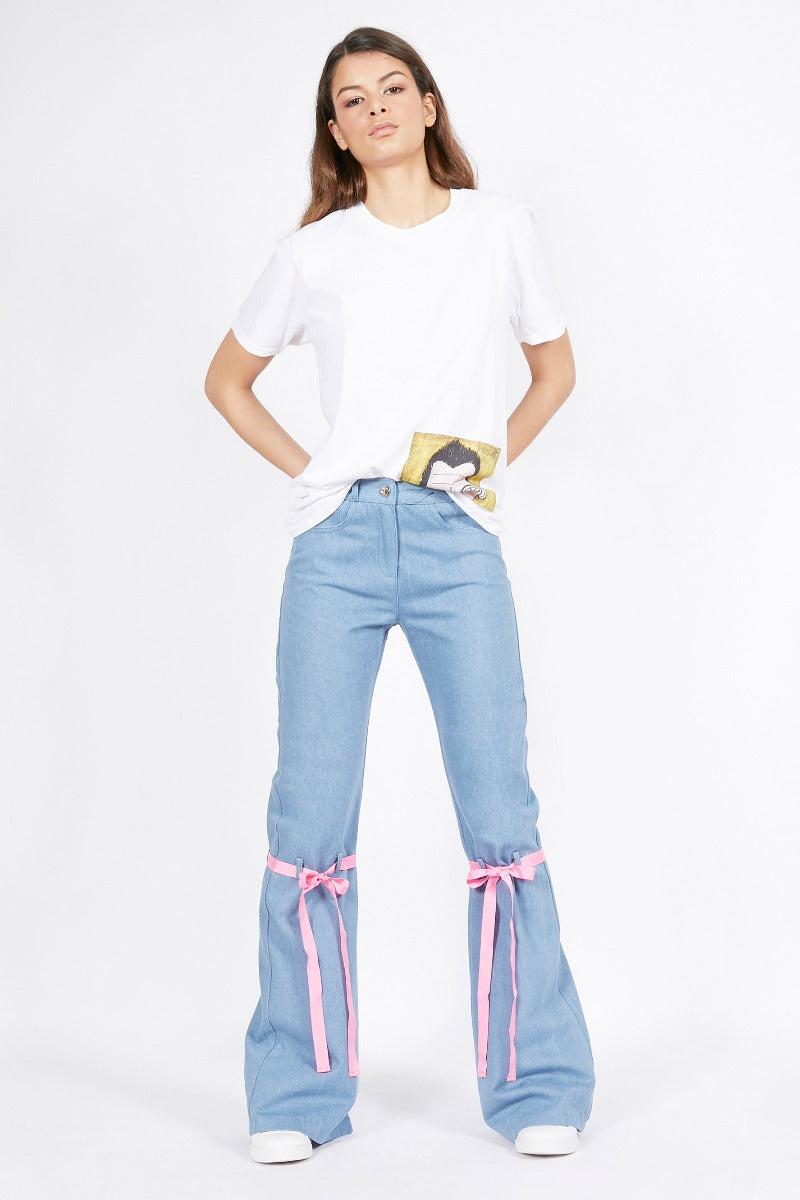 Blue Flared Jeans with Ribbon Detail