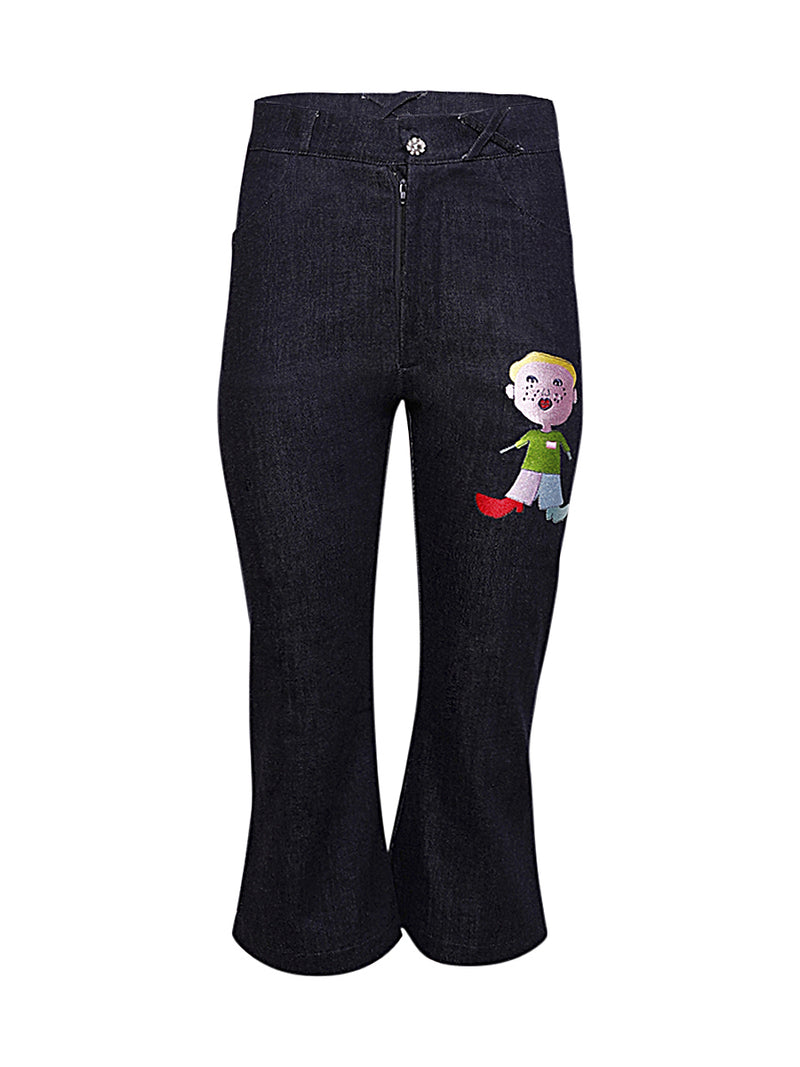 Cropped Character Print Jeans