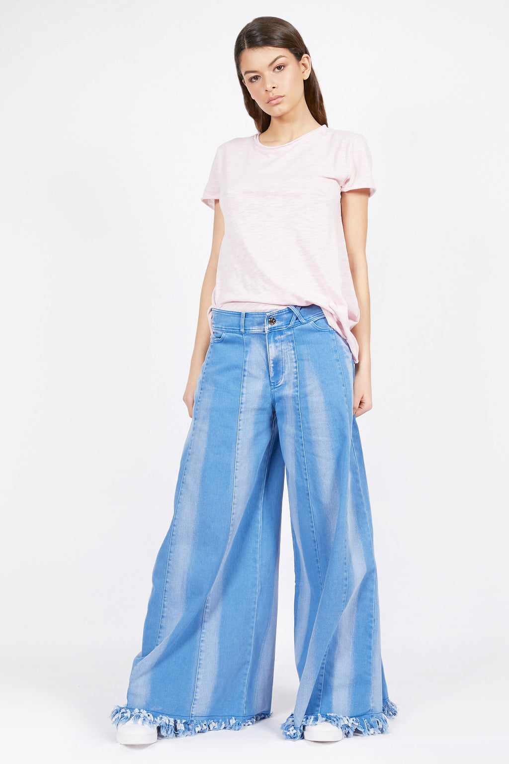 Super Wide Leg Stripe Denim Jeans