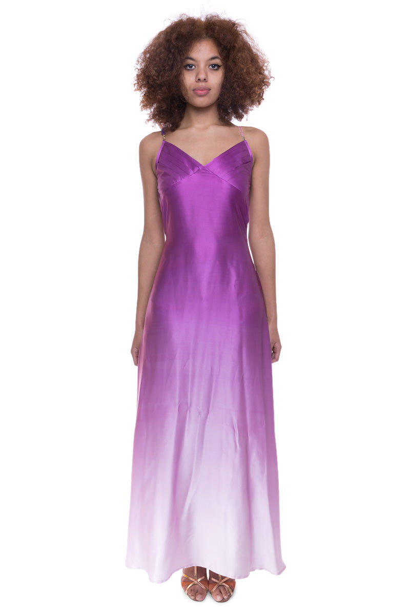 Silk Bead Maxi Dress Lilac