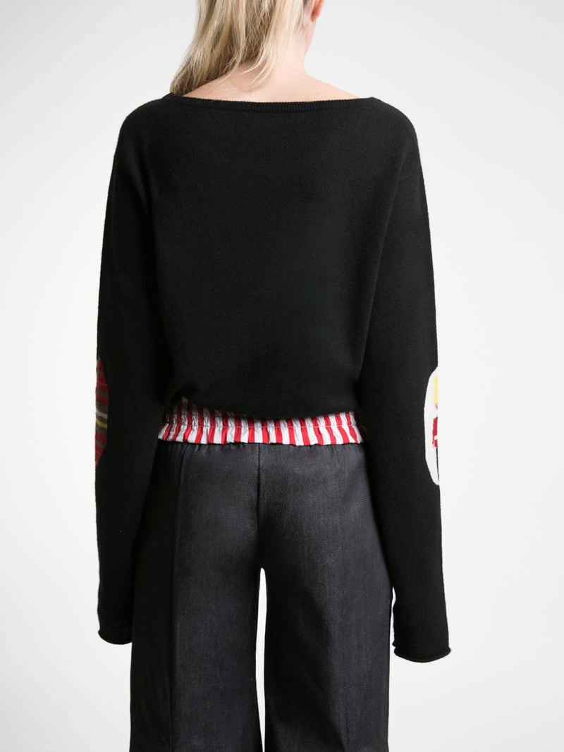 Unisex Cashmere Jumper with Mixed Print Elbow Patches