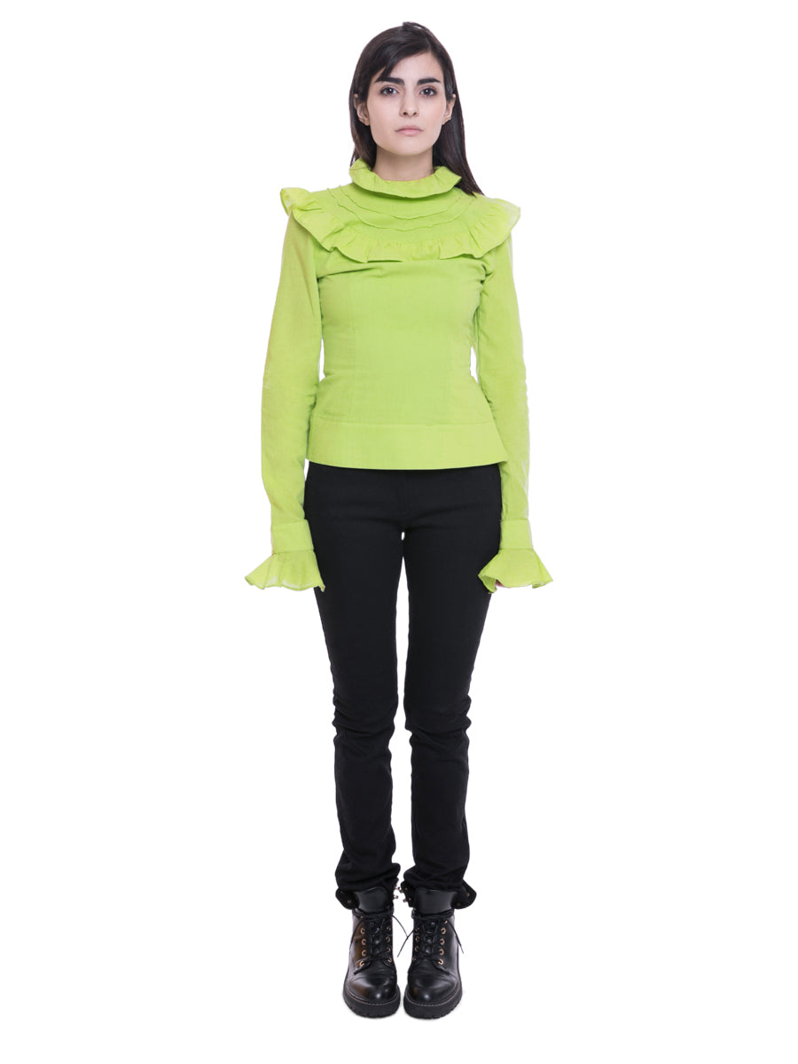 Lime Green Victorian Neck Top front