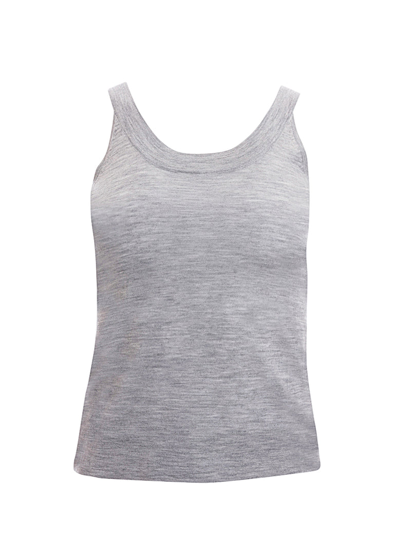Grey 100% Cashmere Tank Top