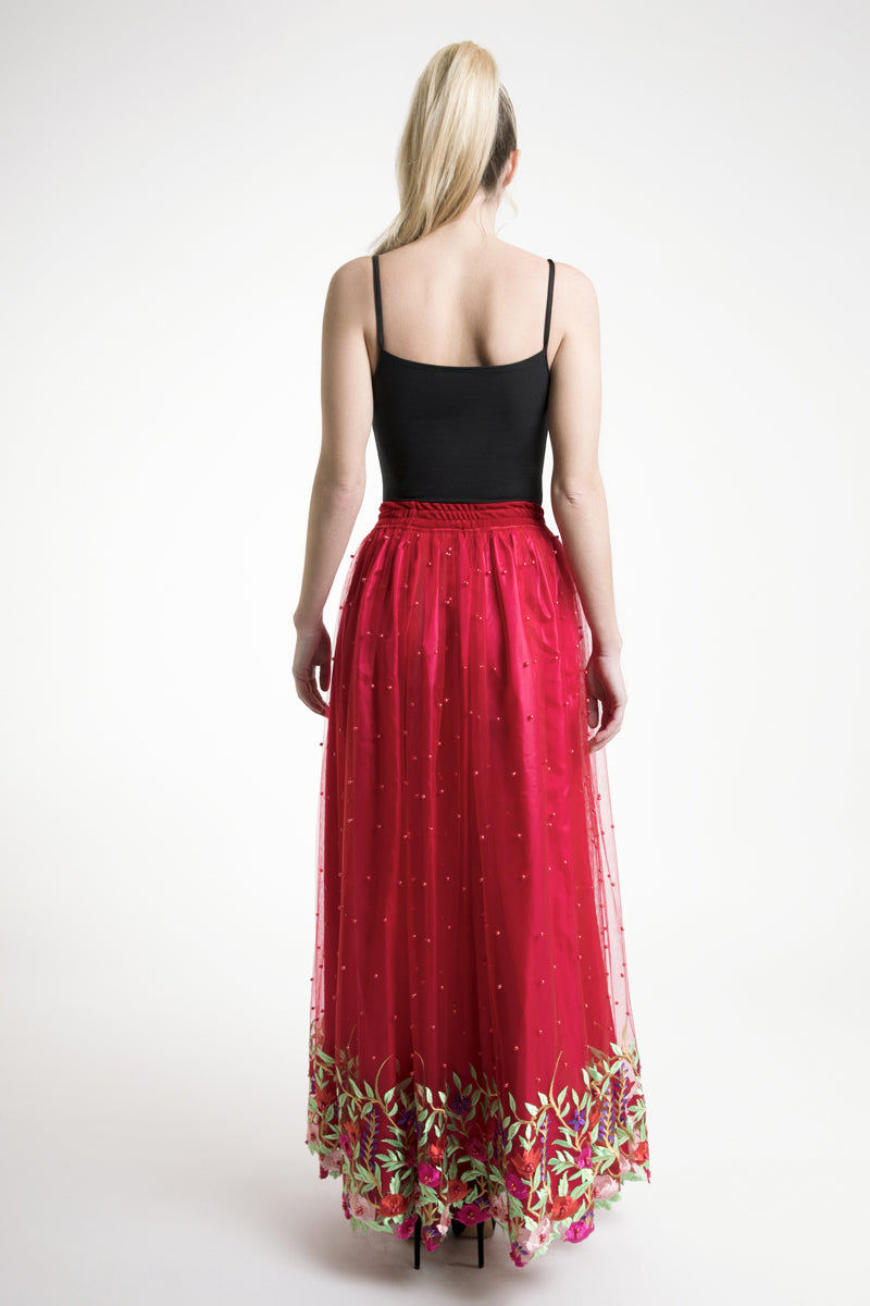 Red Floral Embroidered Maxi Skirt