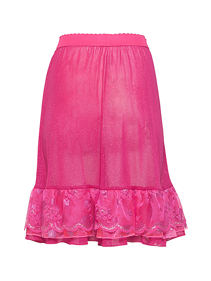 Hot Pink Tiered Ruffle Midi Skirt