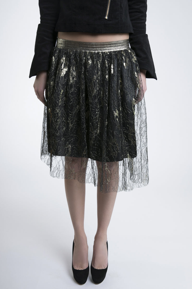 Black Prom Skirt with Gold Embroidered Tulle Overlay