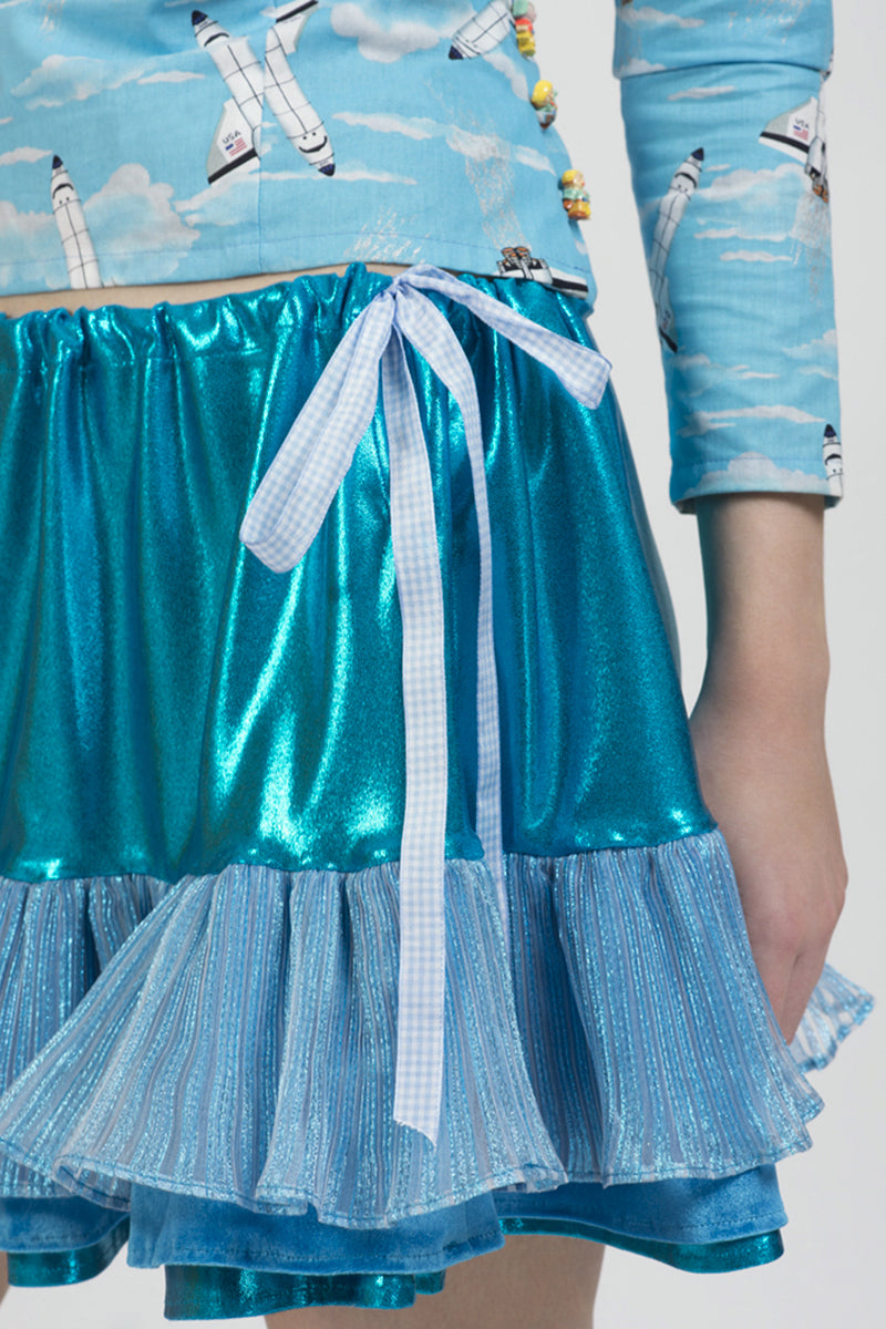 Blue Metallic Ruffle Mini Skirt with Adjustable Ribbon