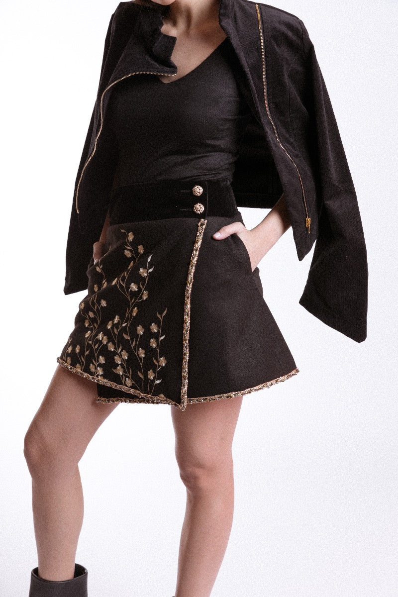 Gold Embroidered Mini Skirt