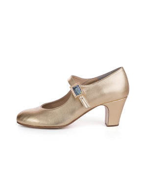 Gold Leather Flamenco Heels with Starry Night Buckle
