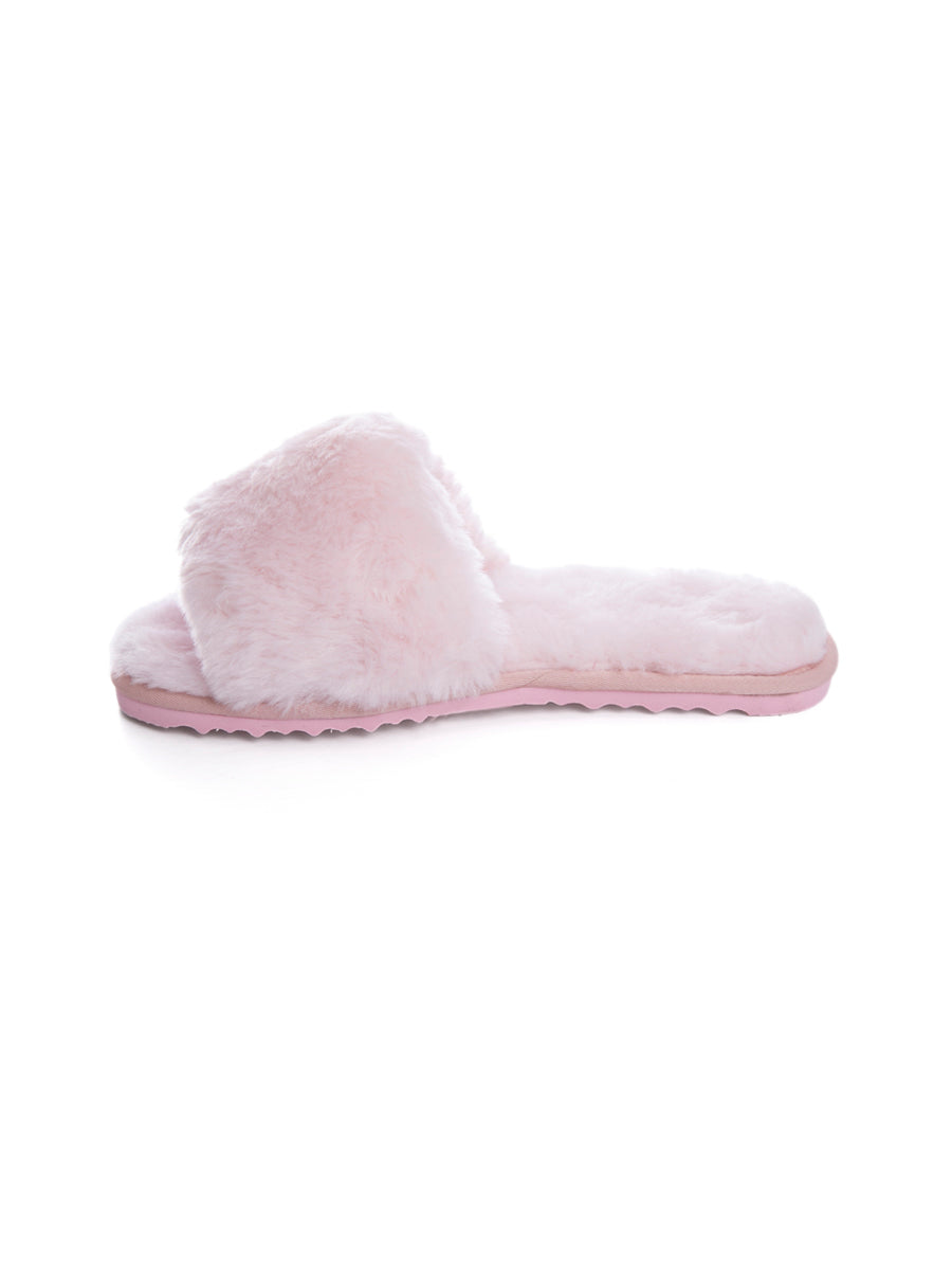 Pink Fluffy Open Toe Sheepskin Slippers