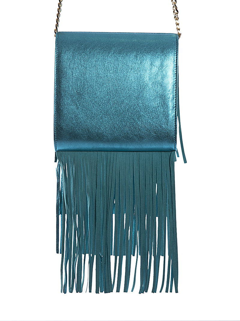Teal Metallic Fringe Leather Bag
