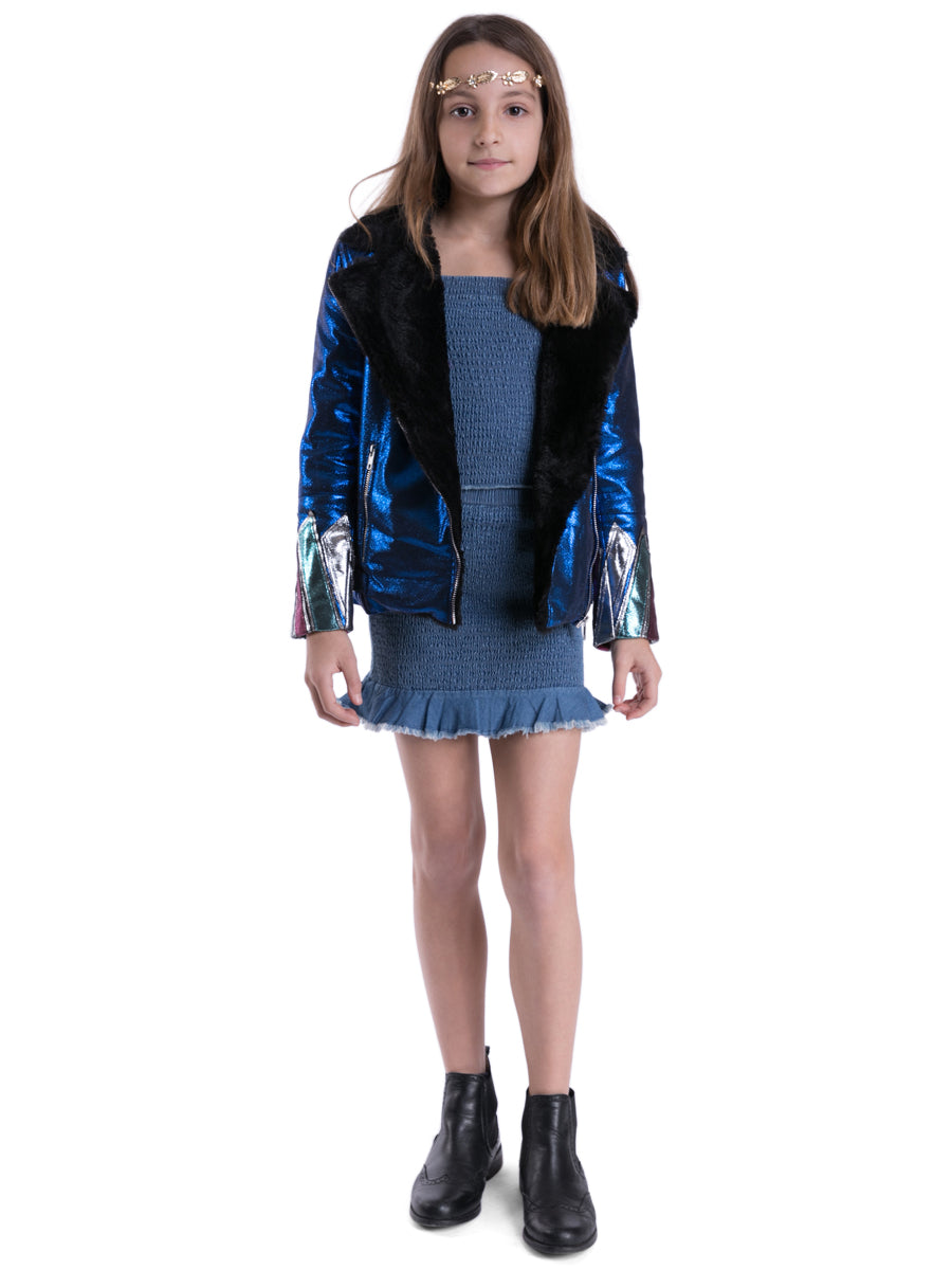 Kids Blue Faux Leather and Fur Jacket