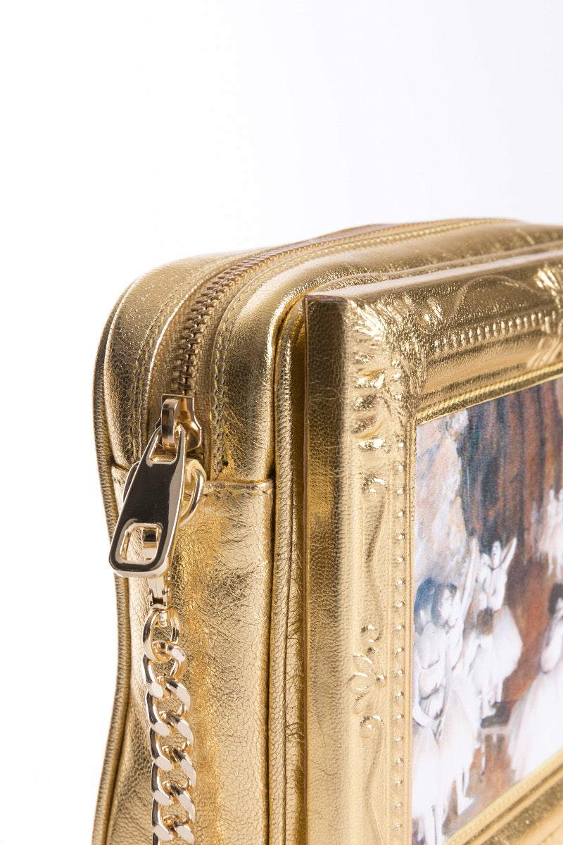 The Ballet Class Framed Gold Leather Bag