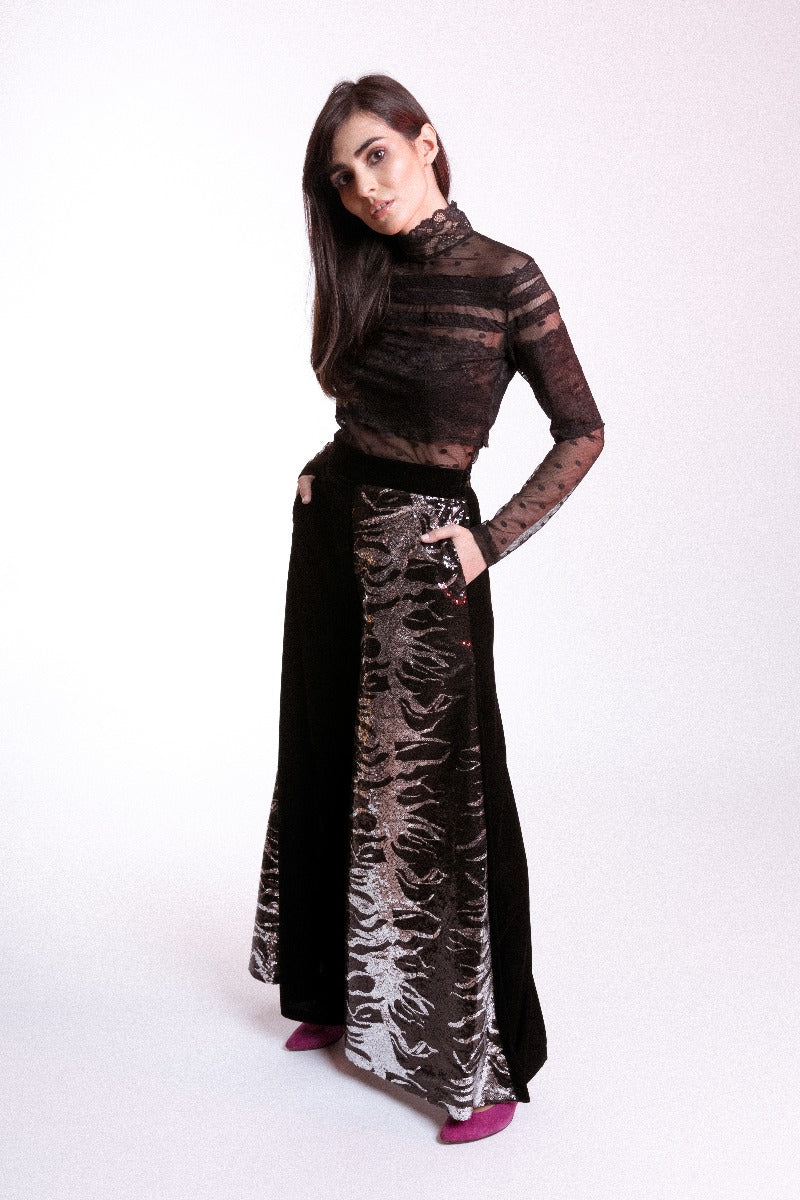 Black Sequin Velvet Wide Leg Trousers