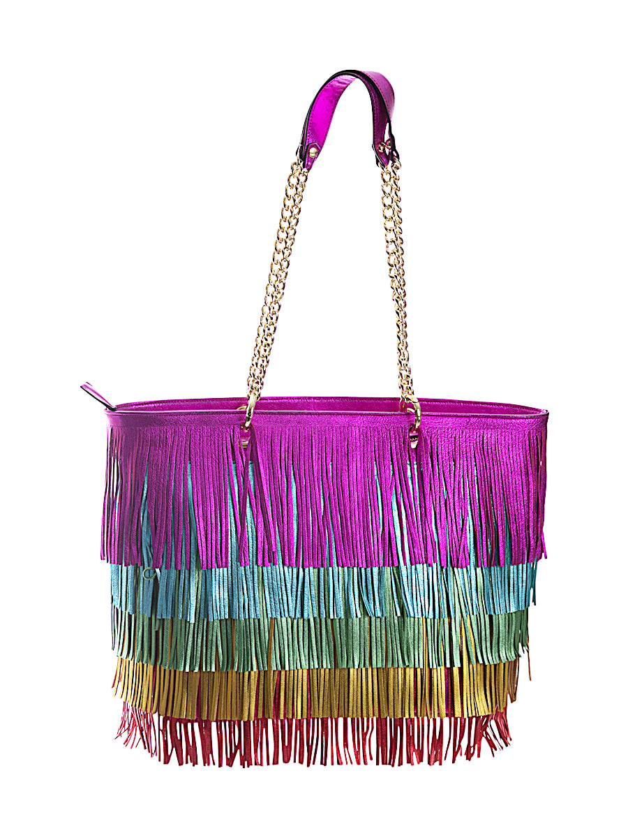 Rainbow Fringe Leather Bag