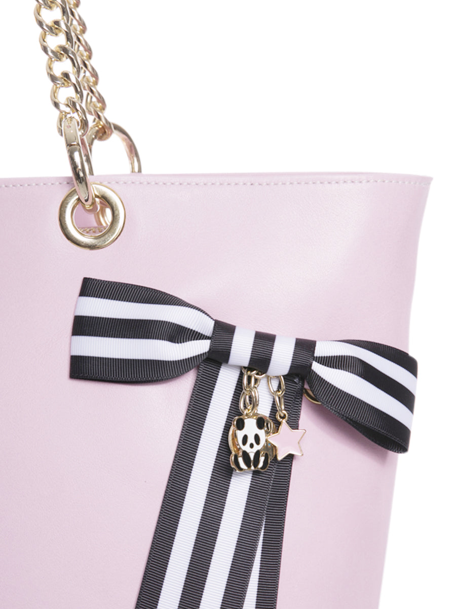 Pink Leather Tote Bag with Chain Straps