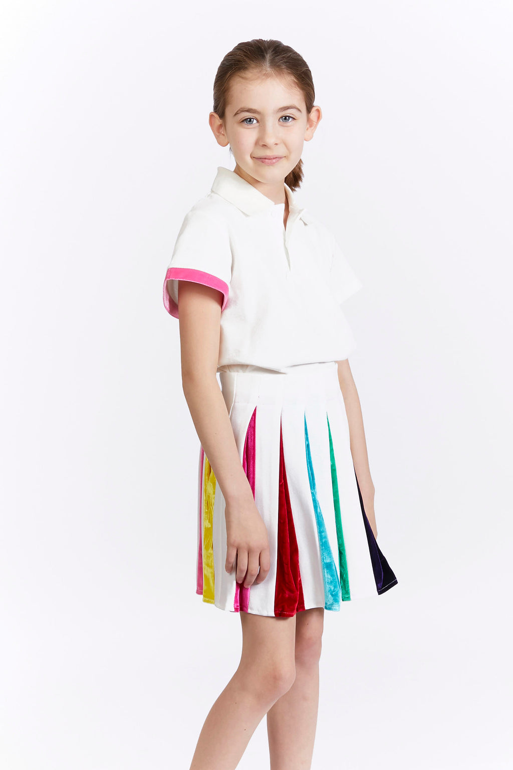 Kids White Rainbow Pleat Tennis Skirt