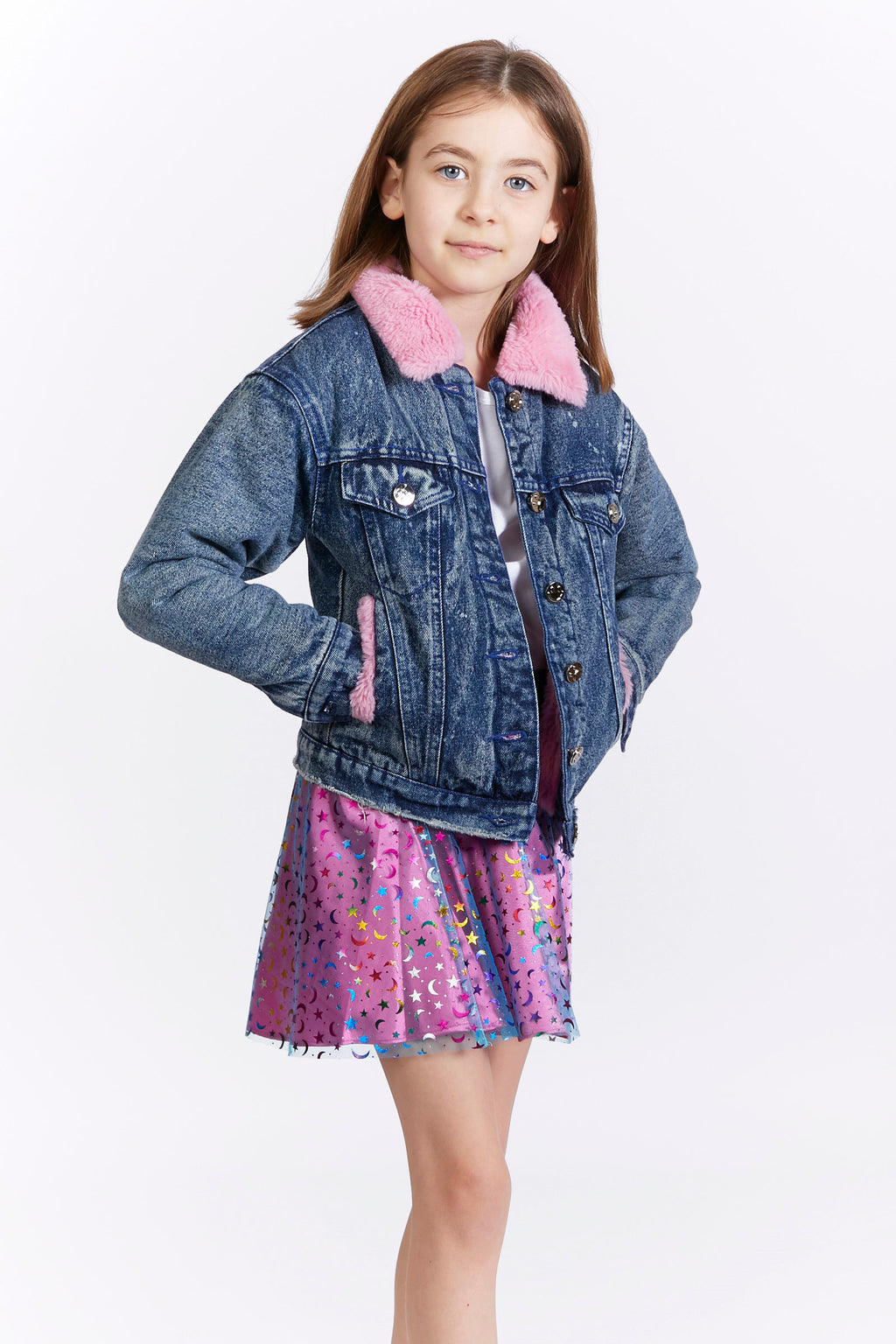Kids Pink Faux Fur Denim Jacket