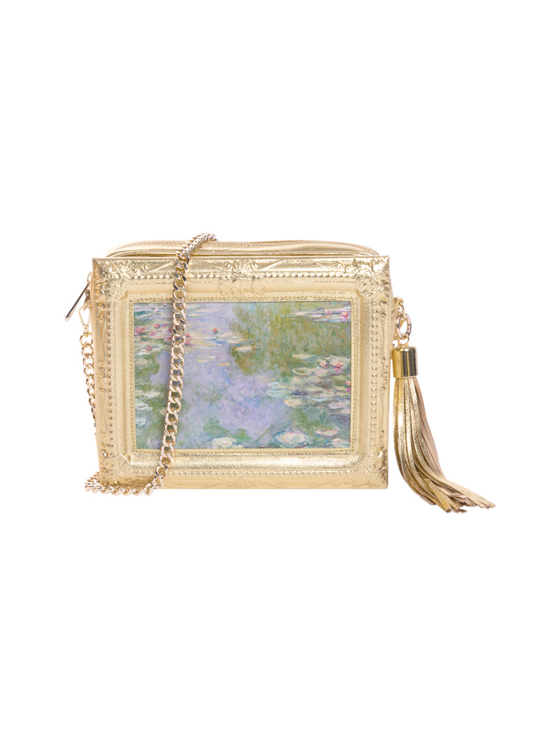 Water Lilies Framed Gold Leather Bag