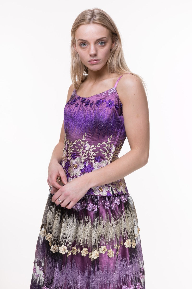 Purple Floral Embroidered Corset Top
