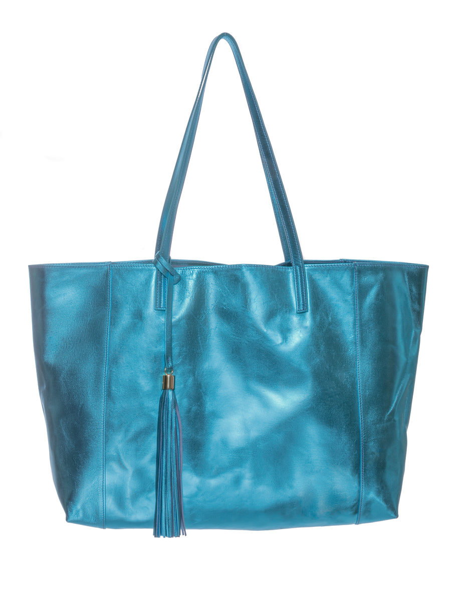 Blue Metallic 100% Leather Shoulder Bag