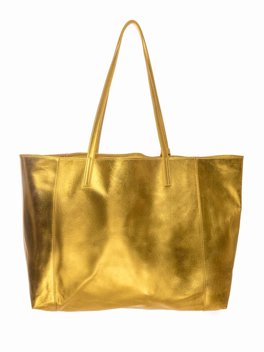 Yellow Metallic 100% Leather Shoulder Bag