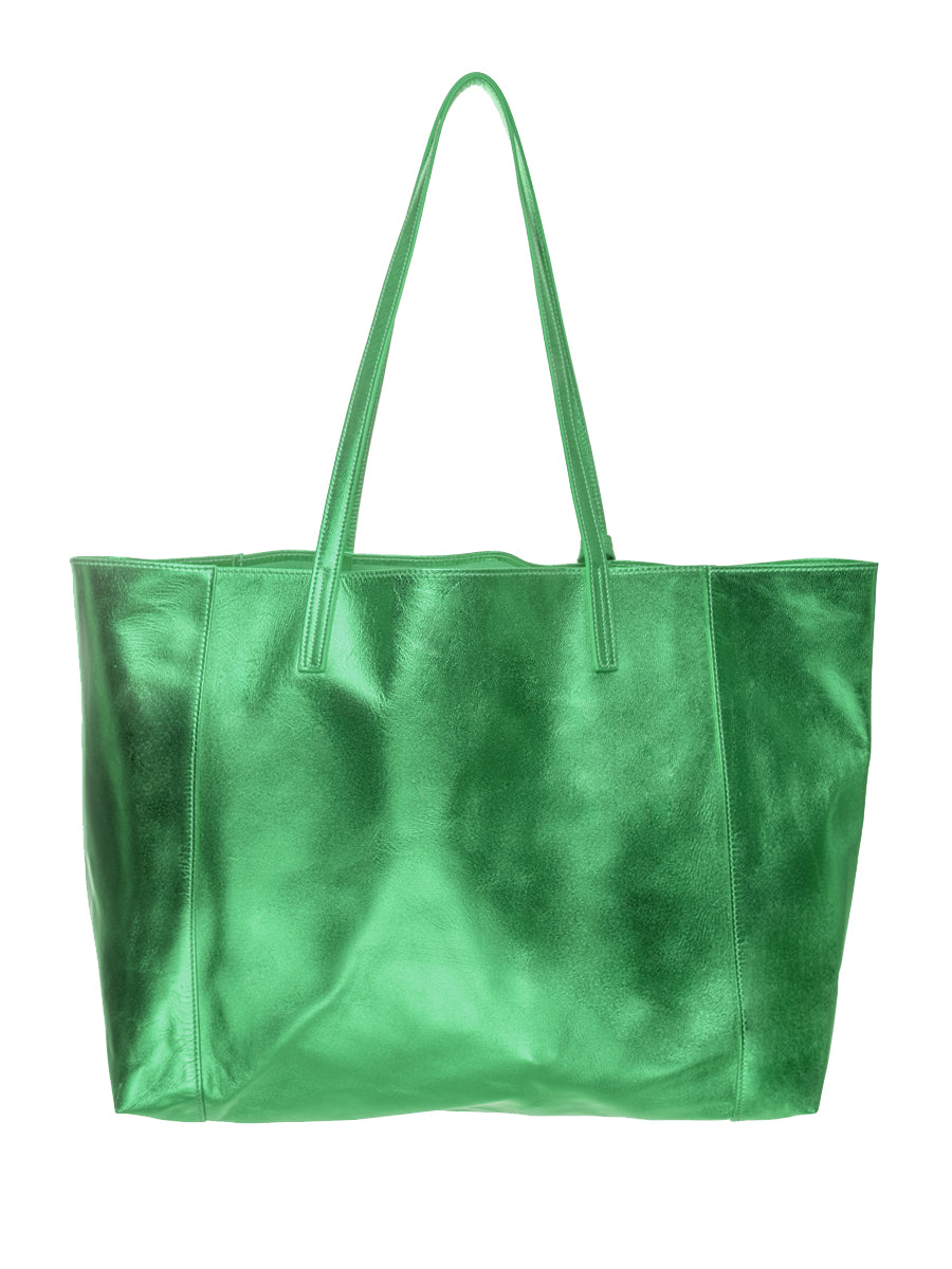 Green Metallic 100% Leather Shoulder Bag