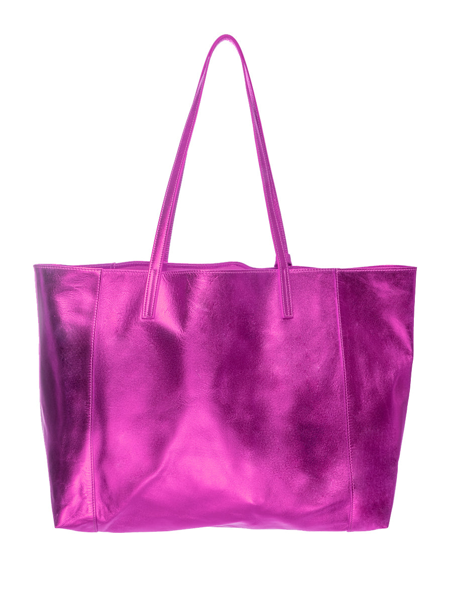 Pink Metallic 100% Leather Shoulder Bag