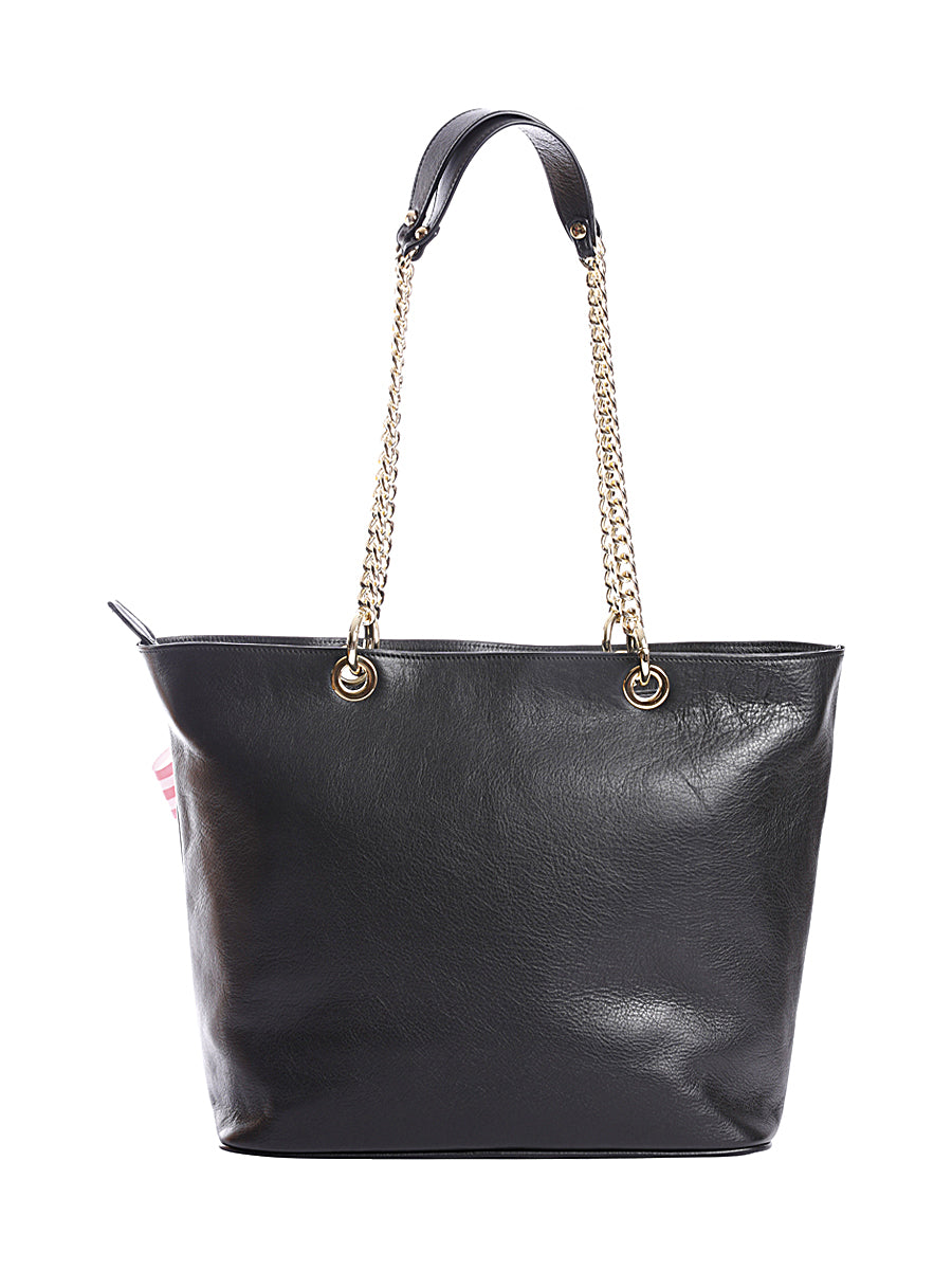 Black Leather Tote Bag with Chain Straps