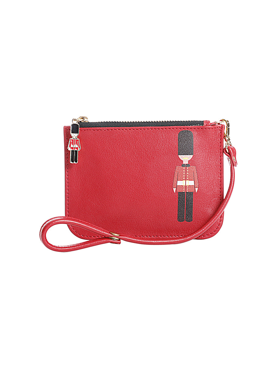 Red Guard Print Zipper Pouch