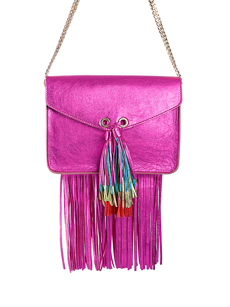 Metallic Leather Satchel Bag with Rainbow Tassel
