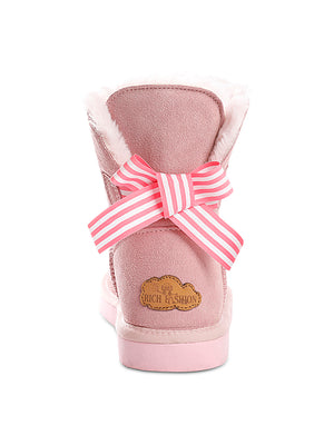 Pink Bow Detail Sheepskin Winter Boots