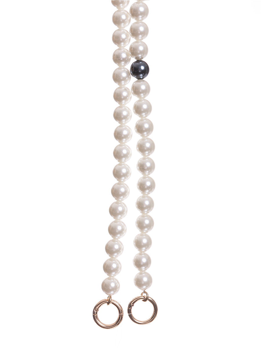 Long Pearl Bag Straps with Black Pearl