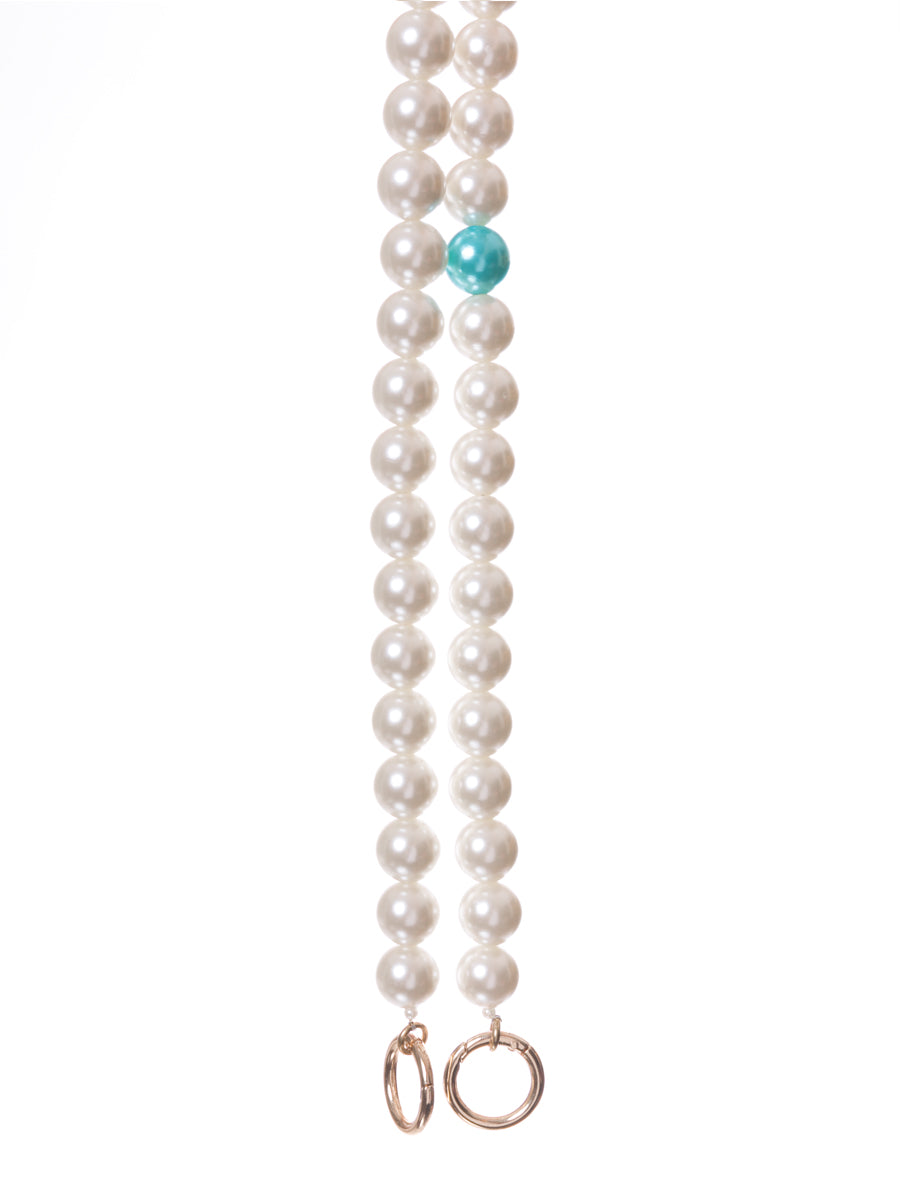 Long Pearl Bag Straps with Teal Pearl