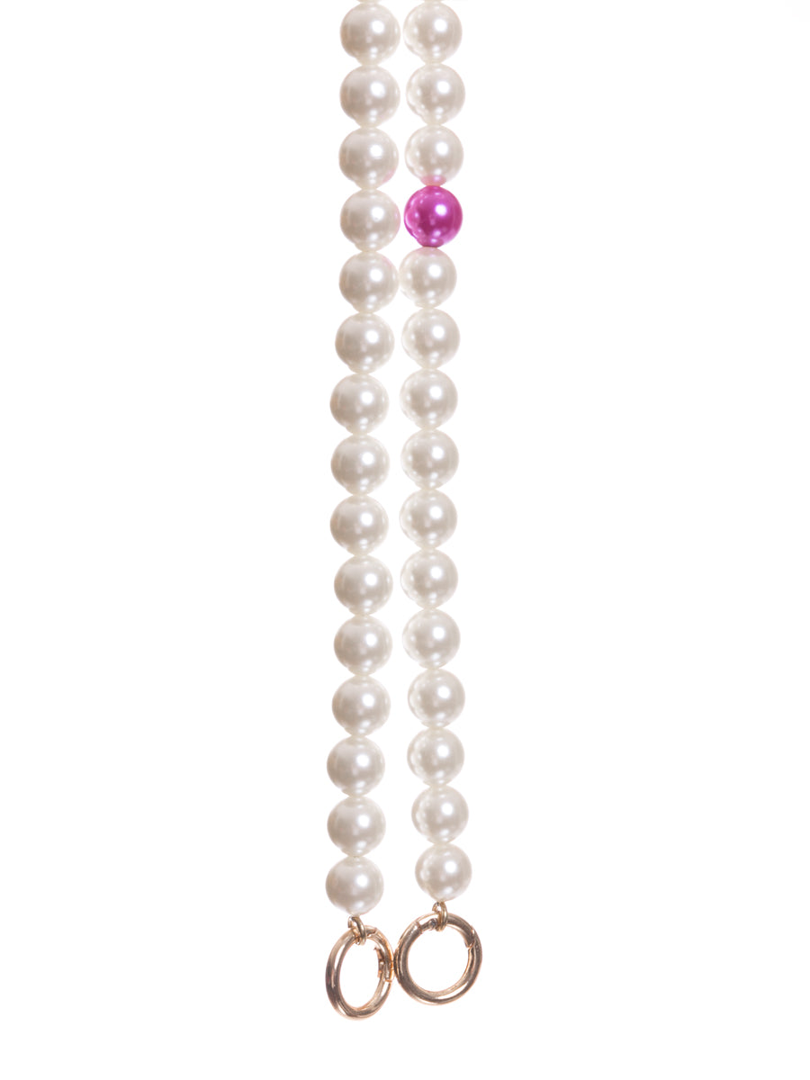 Long Pearl Bag Straps with Fuchsia Pearl