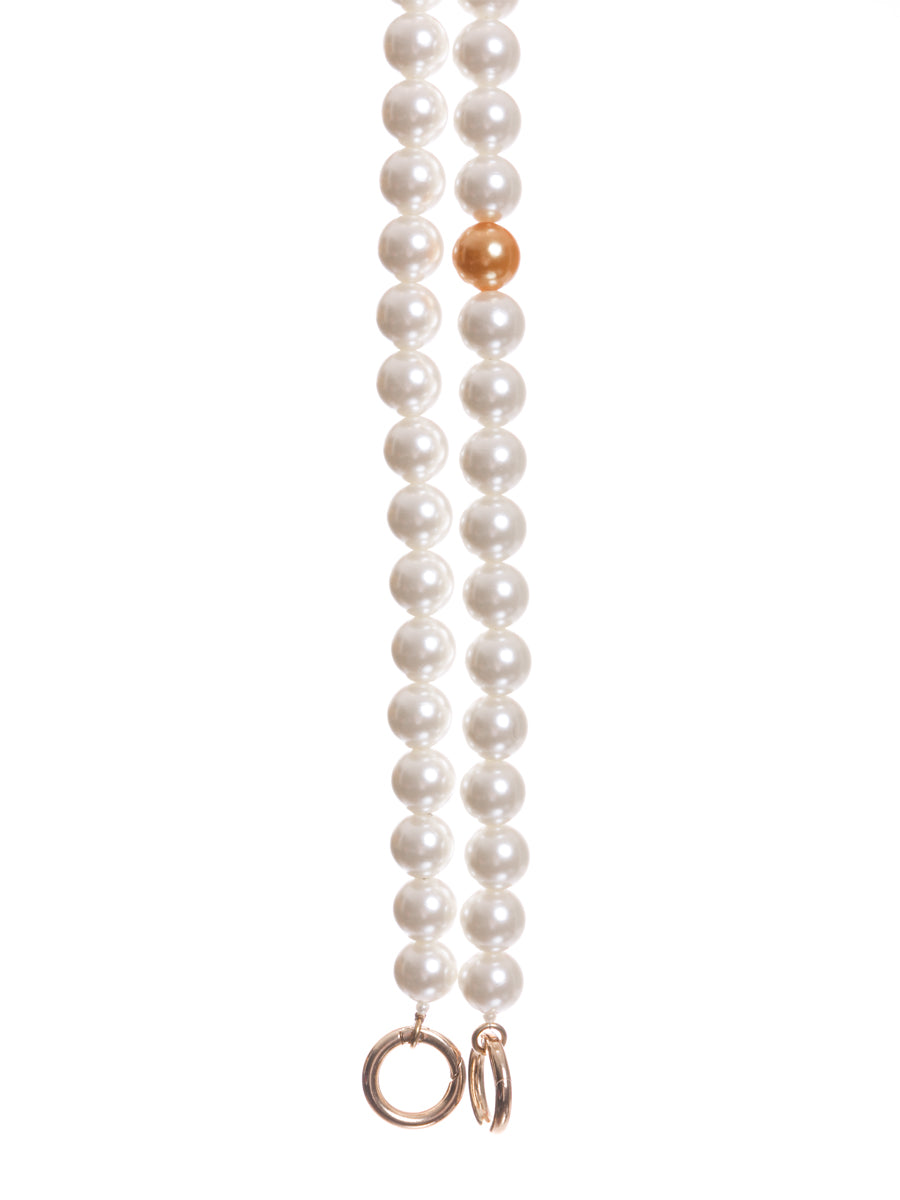 Long Pearl Bag Straps with Orange Pearl