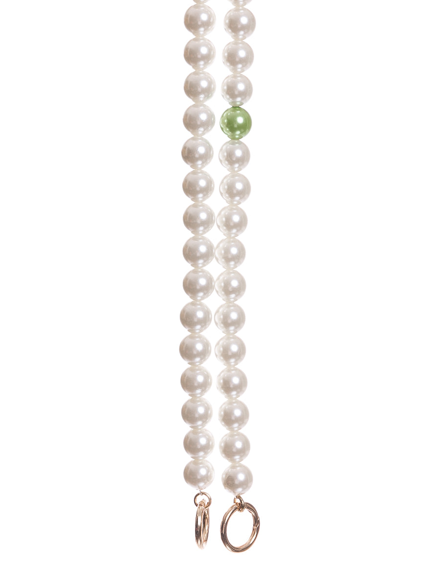 Long Pearl Bag Straps with Green Pearl
