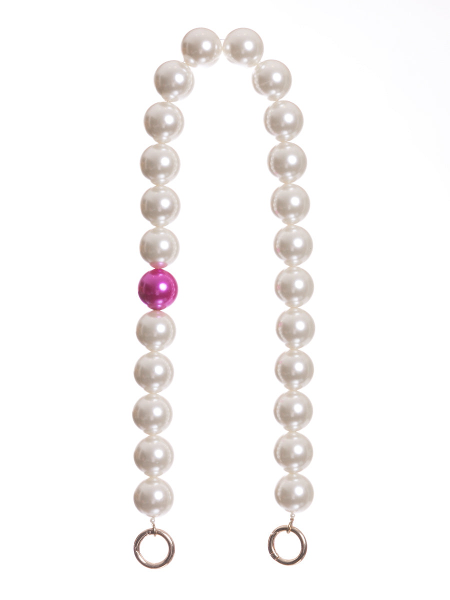 Short Pearl Bag Straps with Fuchsia Pearl