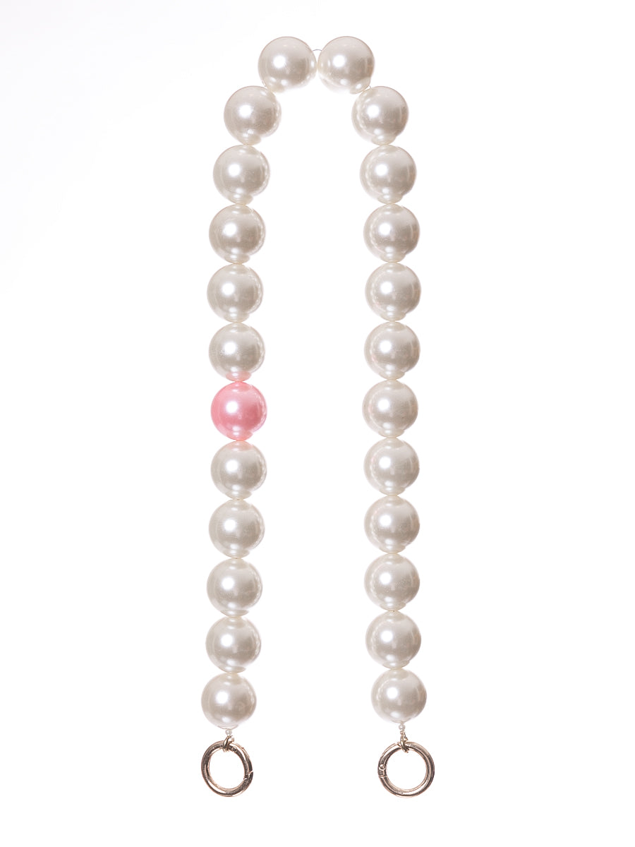 Short Pearl Bag Straps with Pink Pearl