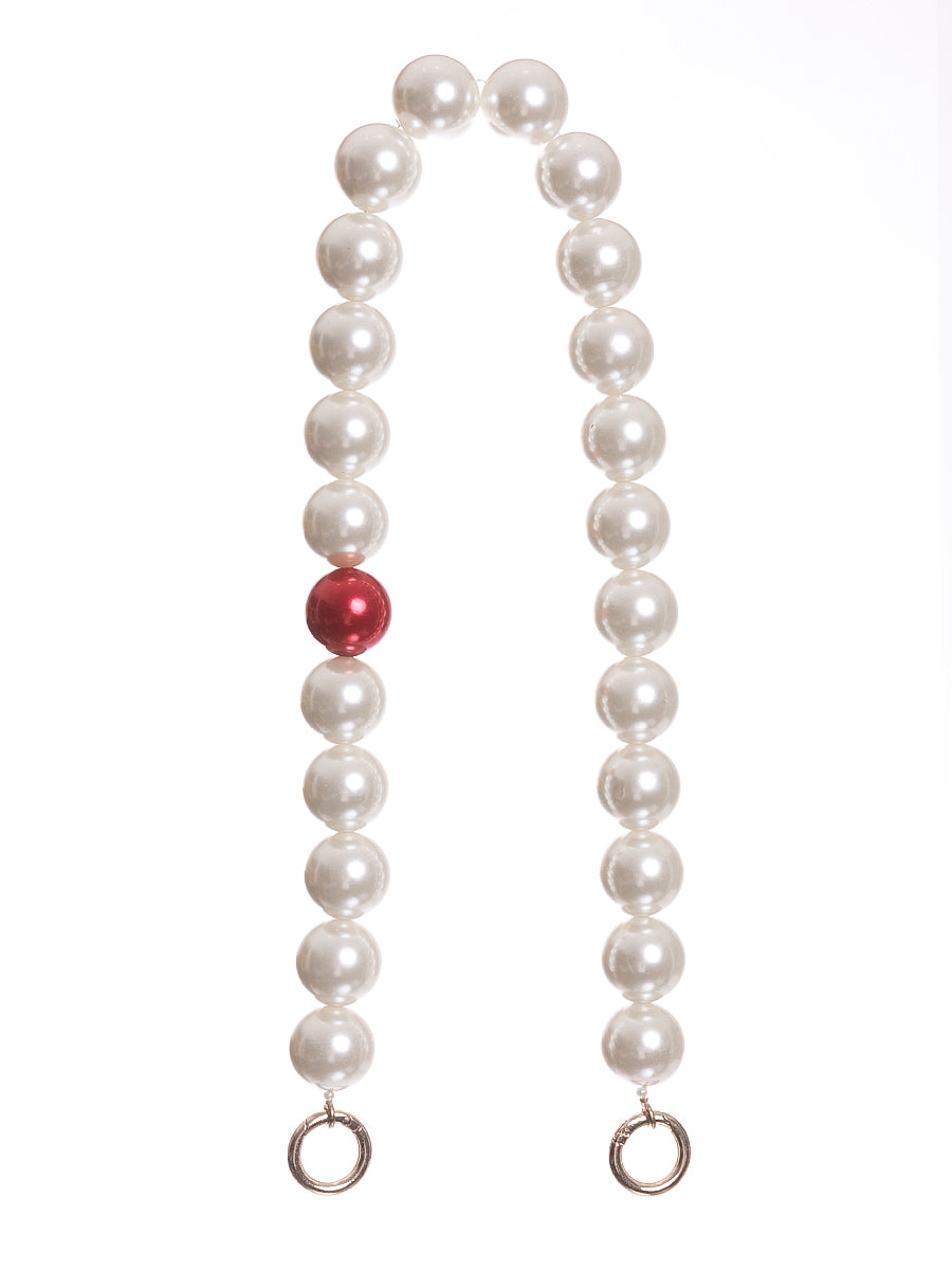 Short Pearl Bag Straps with Red Pearl