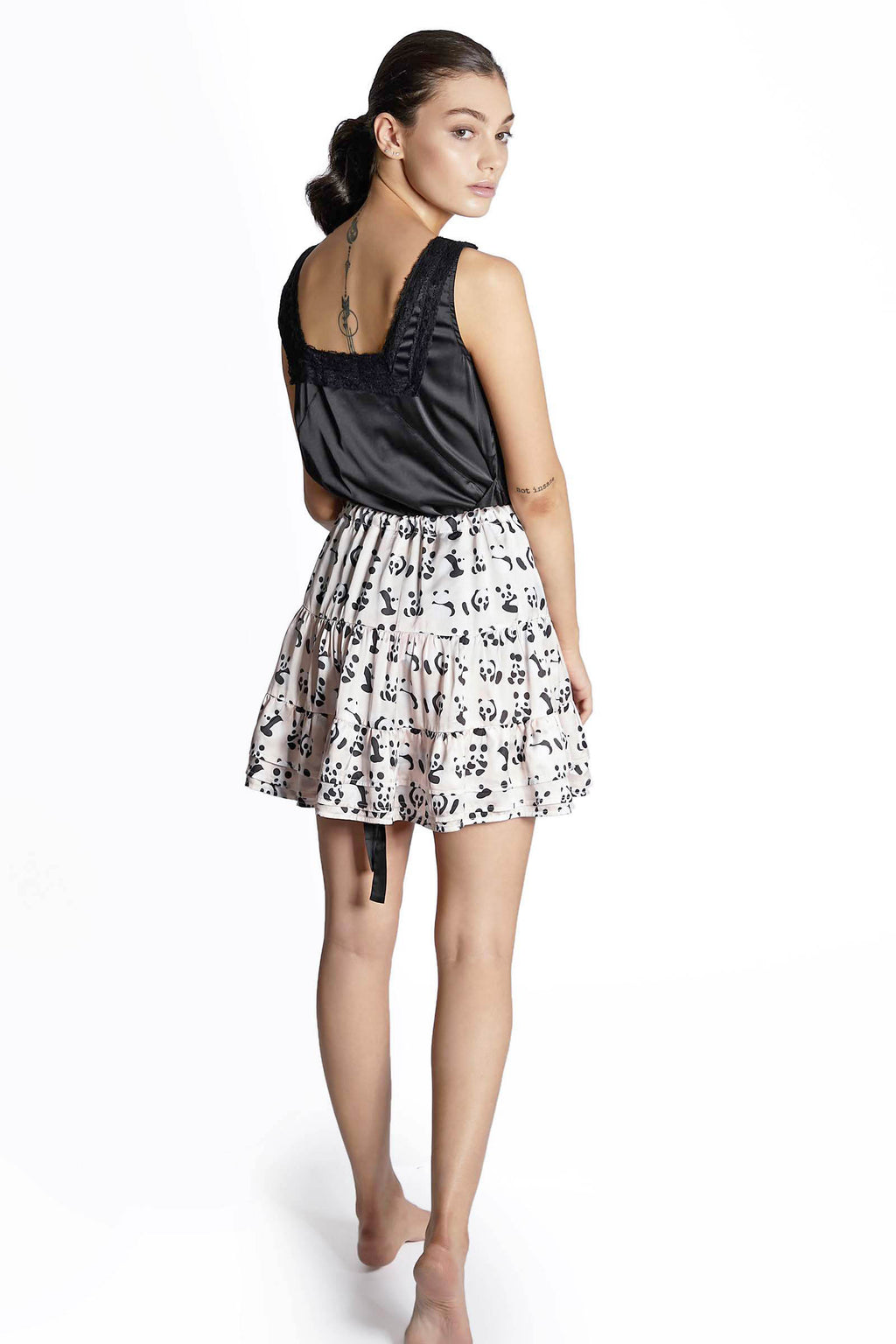 Panda Tiered Ribbon Tie Skirt