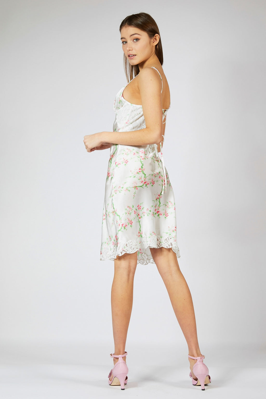 Cherry Blossom Satin Slip Dress